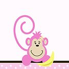 Pink Monkey with Banana Case by JessDesigns
