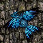 The blue morpho dragon on wood by Aurora