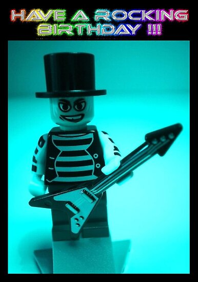 """Have a Rocking Birthday"" Custom LEGO® Emo Guitarist Birthday Greeting Card, by 'Customize My Minifig' by Chillee"