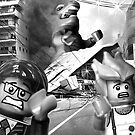 Lego monster is destroying down-town Tokyo by Kevin  Poulton - aka 'Sad Old Biker'