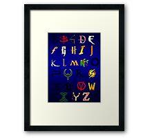 The alphabet of Geekdom Framed Print