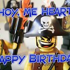 """Happy Birthday"" LEGO® Pirate Captain Birthday Greeting Card, by 'Customize My Minifig' by Chillee"