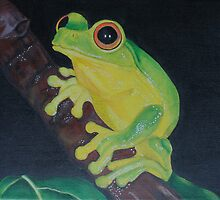 Original acrylic Tiny Tree frog painting on canvas by Maralin Cottenham