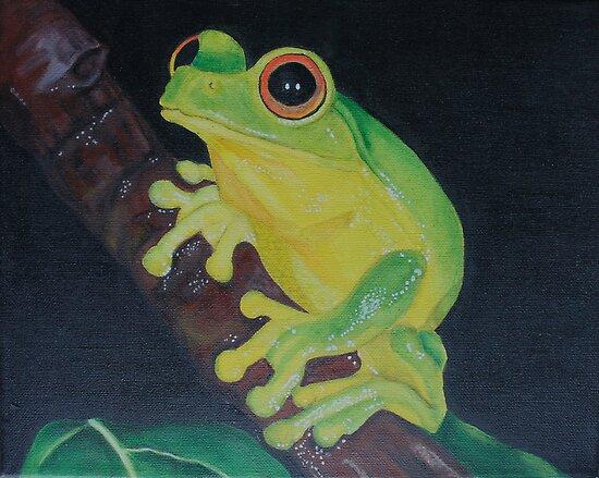 Original acrylic Tiny Tree frog painting on canvas by Maralin Cottenham