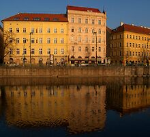 Buildings beside the Vltava River, Prague by SerenaB