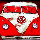 Red & White Camper Cushion by ©The Creative  Minds