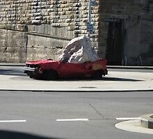 Squashed car , seen better days,Sydney by Wendykaye