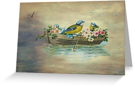 Birds In Boat Fantasy by Sandra Foster