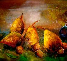 Still Life with Pears, Hazelnuts and A Single Fig by © Janis Zroback
