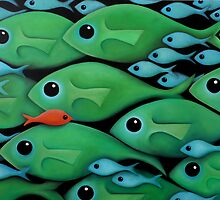 Green Fish School by Georgie Greene