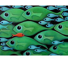 Green Fish School Photographic Print