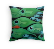 Green Fish School Throw Pillow