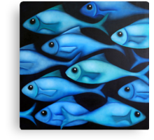 Blue Fish School Canvas Print