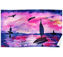 Sunrise on the seas, watercolor Poster