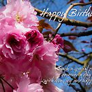 tree blossom in deep pinks birthday greeting card by Moonlake