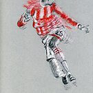 Peter Crouch - Stoke City sketch by Paulette Farrell