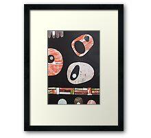 Black white orange lime retro atomic Framed Print