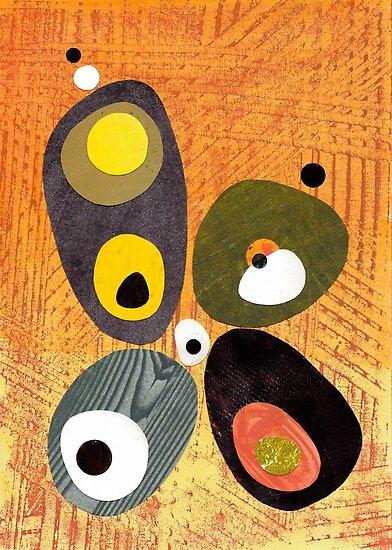 Orange mid century style abstract illustration citrus colors  by bearoberts