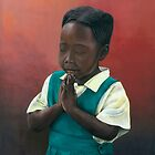 African girl praying by Michael Johnston