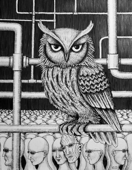 Urban Owl surreal pen ink black and white drawing by Vitaliy Gonikman