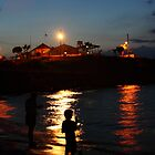 Father and Son Fishing Sunset by John Papaioannou