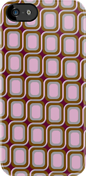 That 70's Design - Brown Grey Pink on Maroon Background by Bryan Freeman