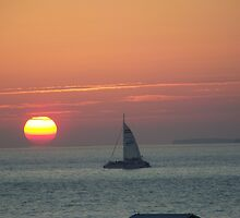 Key West Sunset with Sail Boat by anneharpen