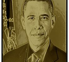 BARACK OBAMA-LIQUID GOLD by OTIS PORRITT