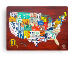 License Plate Map of The United States 2012 Red Version Canvas Print