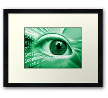 ON THE NET GREEN BINARY EYE GRAPHIC DESIGN Framed Print