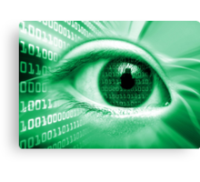 ON THE NET GREEN BINARY EYE GRAPHIC DESIGN Canvas Print