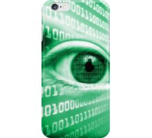 ON THE NET GREEN BINARY EYE GRAPHIC DESIGN iPhone Case/Skin