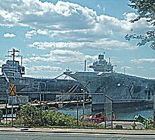 Two Aircraft Carriers Are Better Than One.... NS Newport, RI by Jane Neill-Hancock