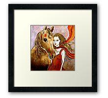 Scarlet's Pony Horse (Linocut) 2 Framed Print