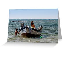the girls and the boat Greeting Card