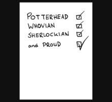 Potterhead, Whovian, Sherlockian, and Proud Kids Clothes