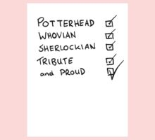 Potterhead, Whovian, Sherlockian, Tribute, and Proud Kids Clothes
