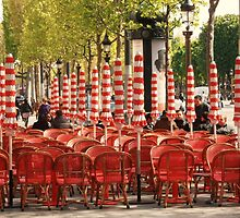Red on the Champs Elysées by Carol Dumousseau