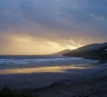 Gold sunset over Inch Beach Ireland by Grace Johnson