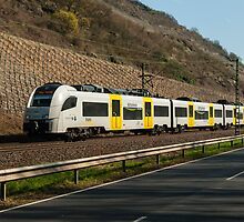Local train near Boppard in the Rhine Valley, Germany. by David A. L. Davies