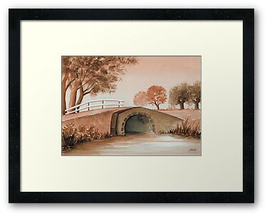 OLD BRIDGE IN OLD BROWN by RainbowArt