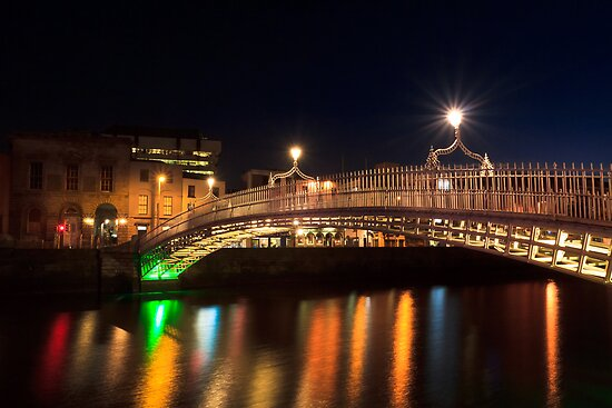 Dublin Ha'penny Bridge By Night by Mark Tisdale