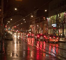 Queen Street Looking West In The Evening Rain by Gary Chapple