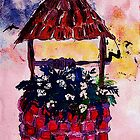 Daughters inherited wishing well, watercolor by Anna  Lewis