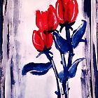 3 Red roses to end your week with,watercolor by Anna  Lewis