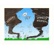 Binary Options News Cartoon Twin Twisters Art Print