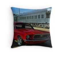 """1968 Mustang """"At the Station"""" Throw Pillow"""