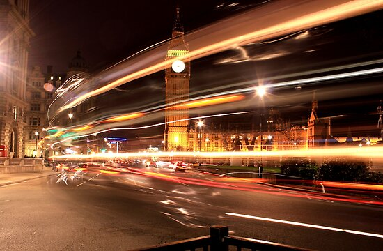 London - Big Ben Through a Double Decker  by rsangsterkelly