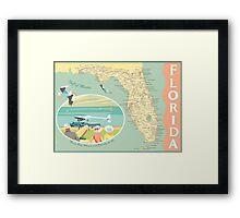 Florida Map with Dinner Key Framed Print