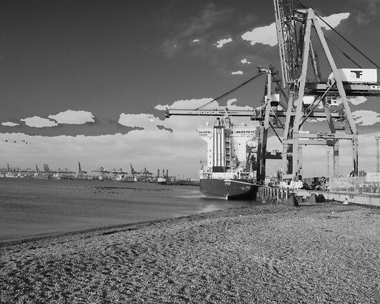 Felixstowe Docks Black and white by Chris  Hayworth